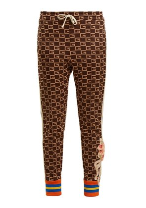 GG-jacquard mid-rise jersey trousers