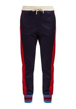 Side-striped mid-rise jersey trousers