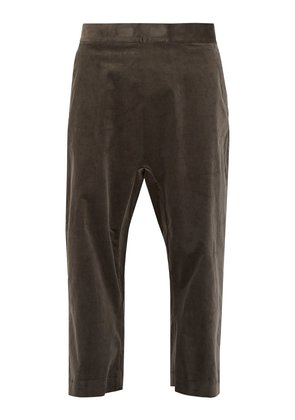 Wide-leg cropped velvet trousers