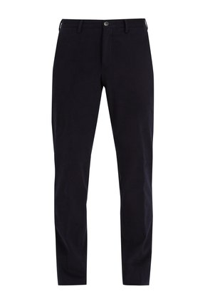 Mid-rise cotton-blend chino trousers