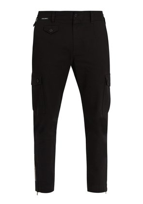 Logo-patch cropped stretch-cotton trousers