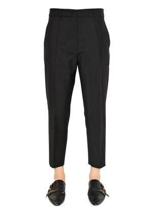 CROPPED STRETCH WOOL PANTS