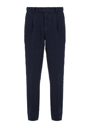 Slim-leg linen trousers
