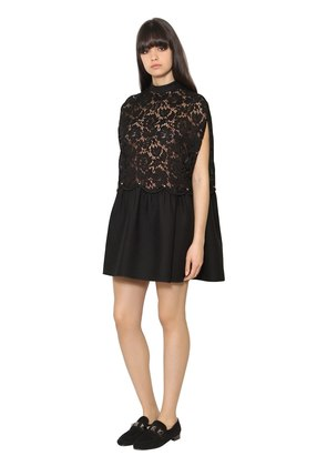 CREPE & HEAVY LACE DRESS