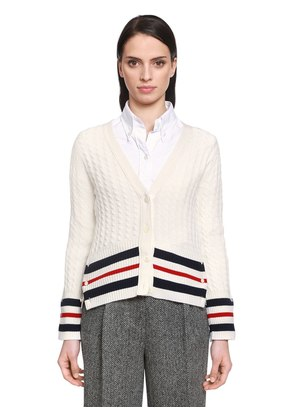 CASHMERE CABLE KNIT CARDIGAN W/ STRIPES