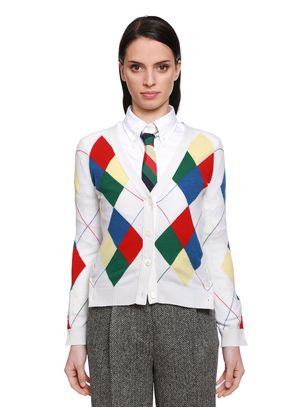 MULTICOLOR ARGYLE CASHMERE KNIT CARDIGAN