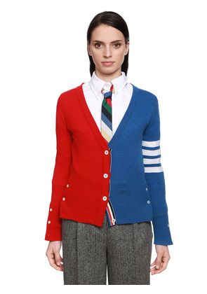 COLOR BLOCK CASHMERE KNIT CARDIGAN