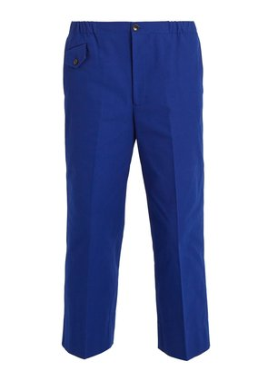 Mid-rise wide-leg cotton trousers