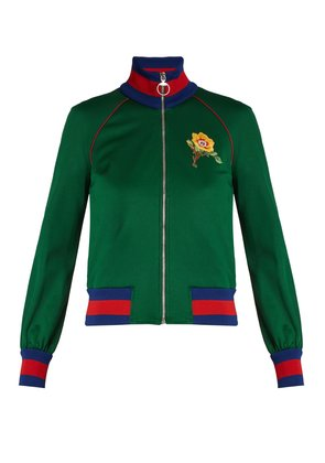 Flower and tiger-appliqué jersey track top