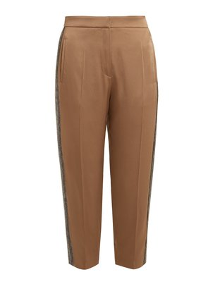 Side-stripe tapered-leg satin cropped trousers