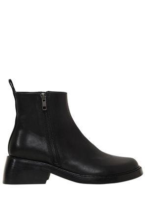 50MM DOUBLE ZIPS LEATHER ANKLE BOOTS