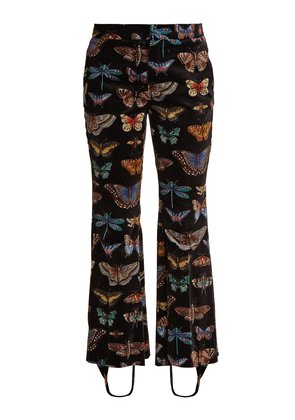 Butterfly-print stretch-cotton velvet trousers
