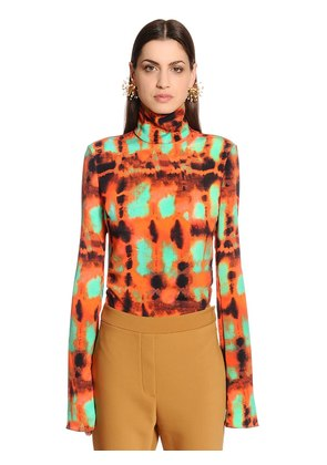 PRINTED SILK FAILLE TOP