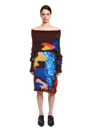 SEQUINED MOHAIR & SILK SWEATER DRESS