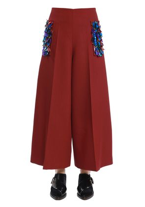 COOL WOOL WIDE PANTS W/ SEQUINED POCKETS