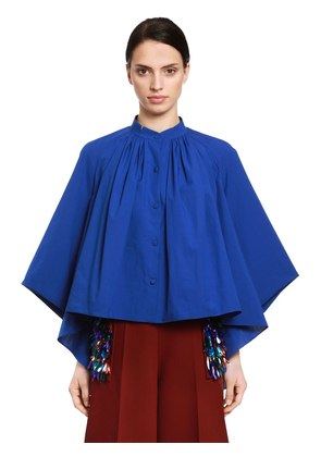 CAPE EFFECT COTTON POPLIN BLOUSE