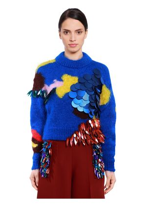 SEQUINED MOHAIR & SILK KNIT SWEATER