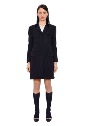 WOOL CHESTERFIELD COAT W/ VELVET COLLAR