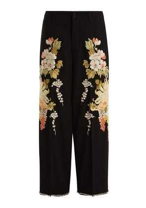 Floral-embroidered wool-crepe trousers