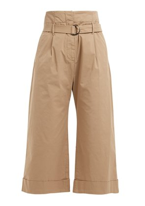 High-rise cropped cotton-blend trousers