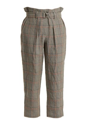 Check paperbag-waist cropped trousers