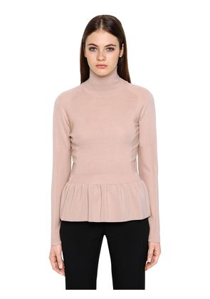 WOOL SWEATER W/ RUFFLED HEM