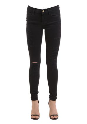 LE COLOR SKINNY RIPPED DENIM JEANS