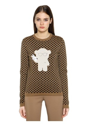 POLKA DOT JACQUARD WOOL BLEND SWEATER