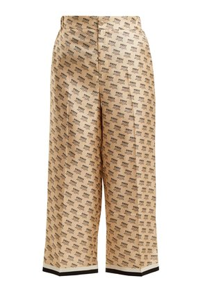 Invite stamp silk cropped trousers