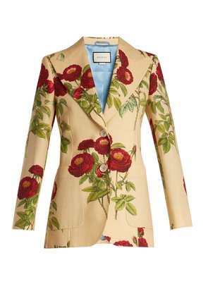 Rose-print wool and mohair-blend jacket