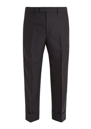 Contrast-striped wool trousers
