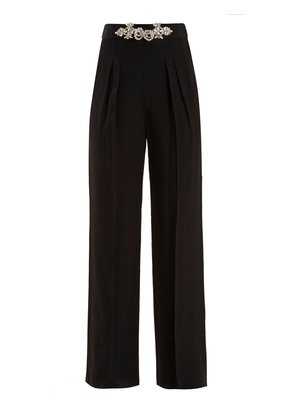 Crystal-embellished high-rise crepe trousers