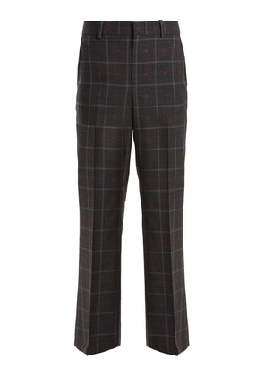 Heart fil coupé checked wool-blend trousers