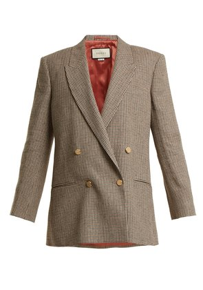 Double-breasted checked linen blazer