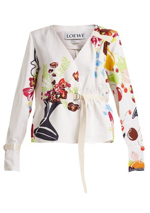 Floral and fruit-print tie-waist jacket