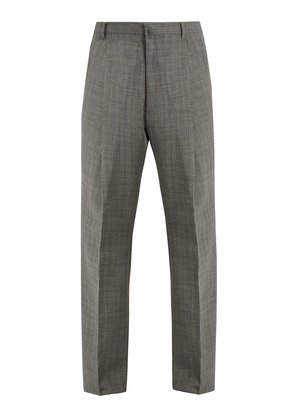 Wide-leg checked wool trousers