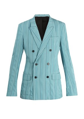 Shawl-lapel pinstriped blazer