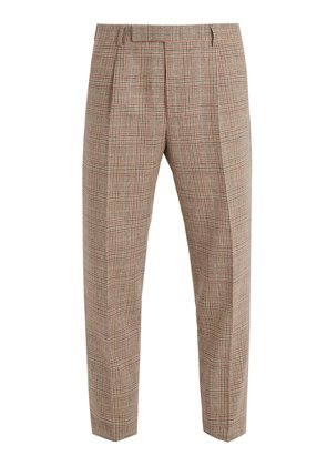 Checked slim-leg wool-blend trousers