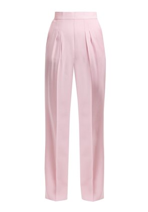 Pleat-detail wool-crepe trousers