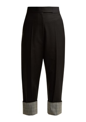 Slim-leg turned-up tailored trousers