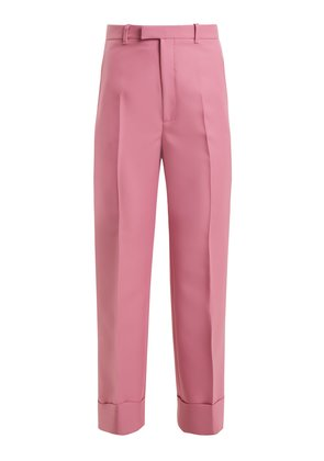 High-rise straight-leg twill cropped trousers