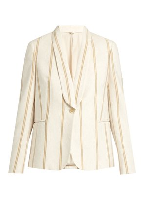 Striped single-breasted cotton-jersey jacket