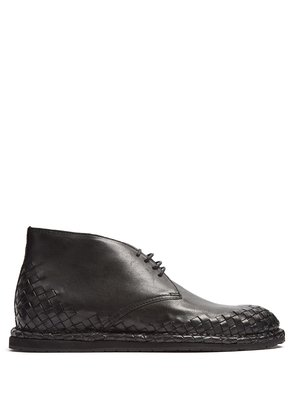 Intrecciato-trimmed leather desert boot