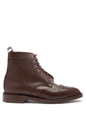 Wingtip grained-leather boots