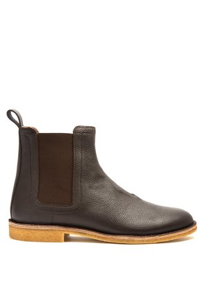 Panelled grained-leather chelsea boots