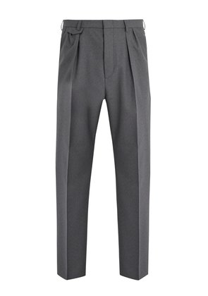 Pleated-detail wool trousers