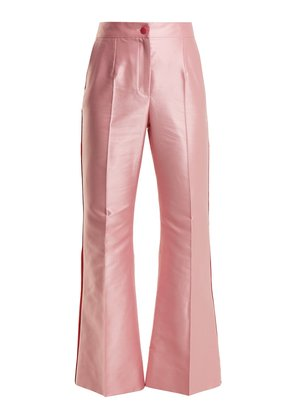 Contrast-trim high-rise satin trousers