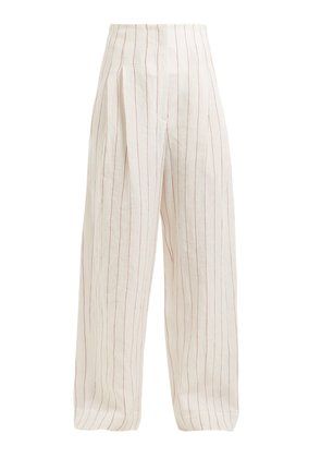 High-rise pinstriped linen-blend trousers