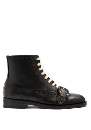 Queercore leather ankle boots