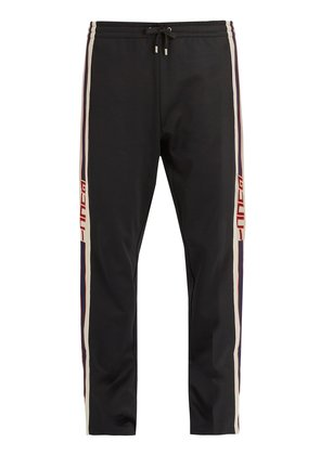 Button-fastening Web-trimmed jersey track pants